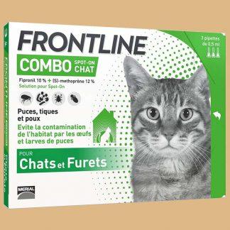 Combo chat - 3 pipettes anti puces, tiques et poux pour les chats - Marque : Frontline