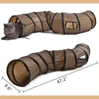 Tunnel de jeu pour chat PAWZ Road - Marron - 25 x 130 cm