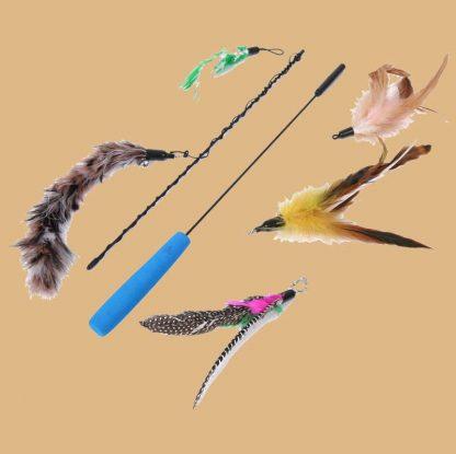 Reefa - Jouets canne à pêche pour chat - 5 rechanges