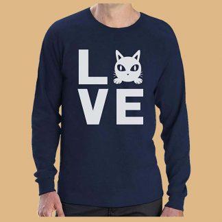 T-Shirt Love Cat - Pour homme - Manches longues - Couleur : Marine - Marque : Green Turtle T-Shirts