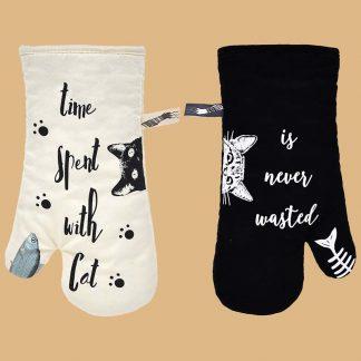 Gants de four anti-chaleur thème chat - Marque Grevy