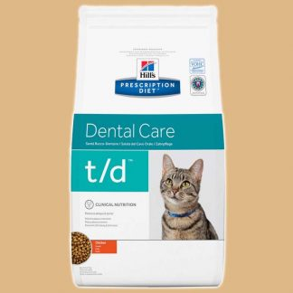Prescription Diet - Dental Care t/d - Goût : poulet - Croquettes pour chat - Marque : Hill's
