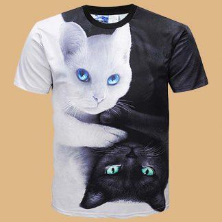 Pizoff - T-Shirt homme à motifs chat - Manches courtes - Couleur : noir et blanc