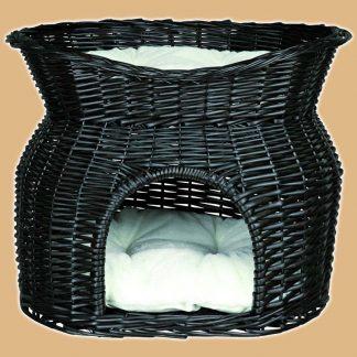 Panier en osier noir pour chats - 2 niveaux de couchettes - Marque : Trixie
