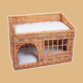 Niche pour chat avec deux niveaux de couchage