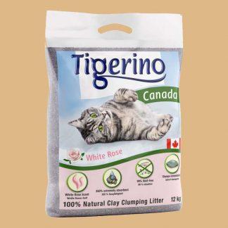 Litière minérale pour chat senteur roses blanches - Sac de 12 kg - Marque : Tigerino Canada