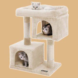 Arbre à chat - Colonnes en sisal - 2 niches - Couleur : beige - Marque : Feandrea