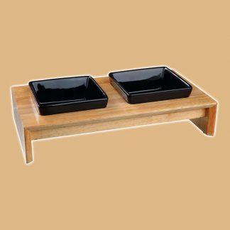 Gamelle double en céramique et en bois pour chat