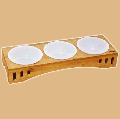 Support en bambou avec 3 bols en céramique pour chat