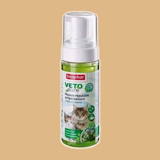 Mousse répulsive antiparasitaire Beaphar Vetopure pour chat et chatons