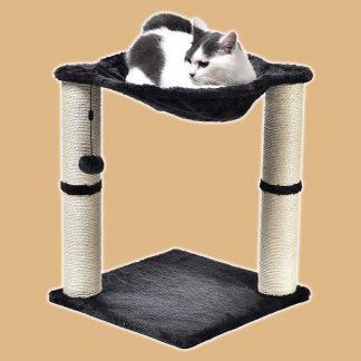 Arbre à chat en forme de tour avec abri