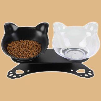 Deux gamelles pour chat avec support incliné