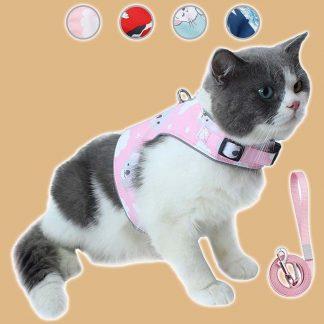Harnais réfléchissant réglable pour chat avec laisse de 150cm