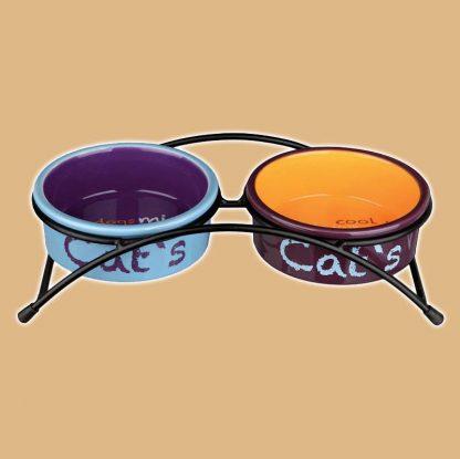 Double gamelles pour chat avec support