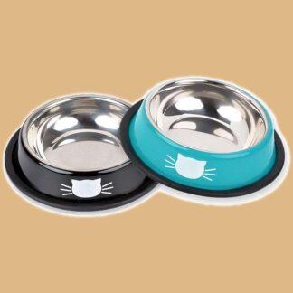 2 bols en acier inoxydable pour chat