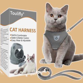 Harnais pour chat avec laisse réglable